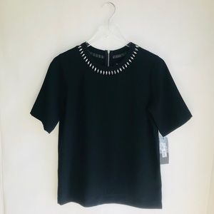 DKNY Embellished Neck Top